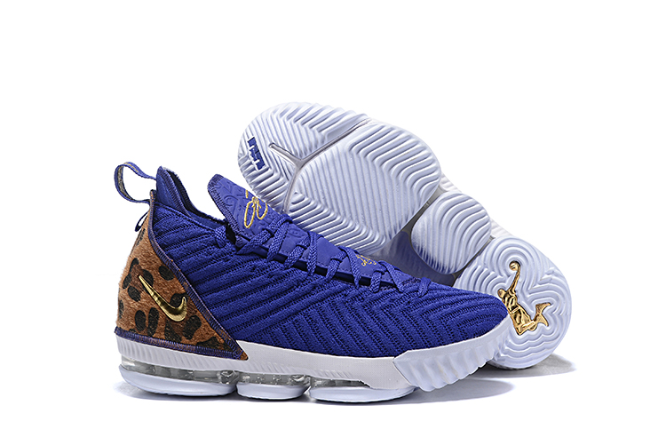 New Nike LeBron 16 Blue Cheetah Print Yellow Shoes