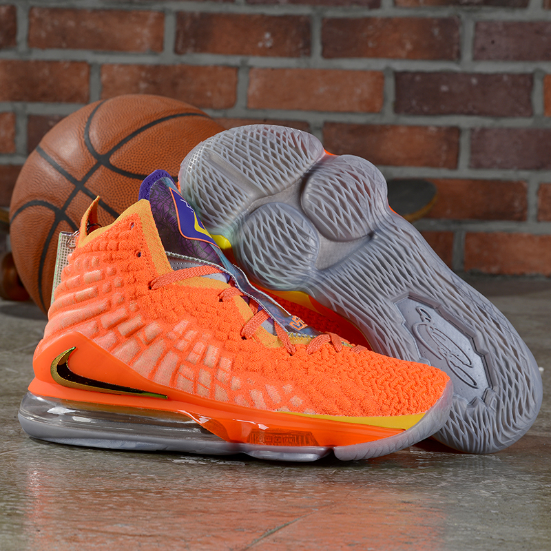 New Nike LeBron 17 Orange Grey Shoes