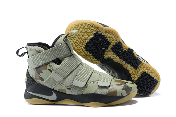 New Nike LeBron Soldier 11 Army Green Camo Shoes