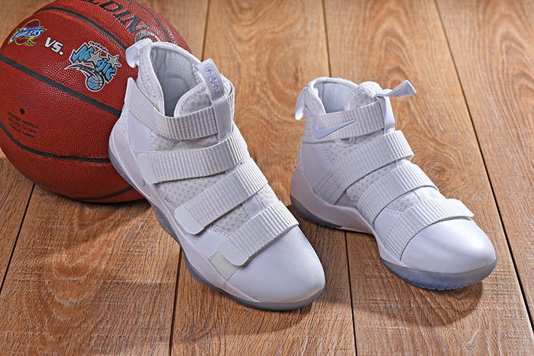 New Nike Lebron Soldier 11 All White Shoes