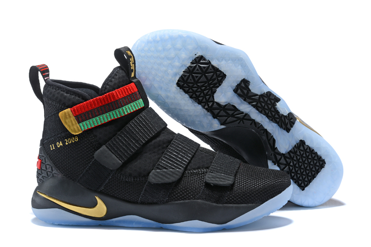 New Nike Lebron Soldier 11 BHM Black Gold Shoes