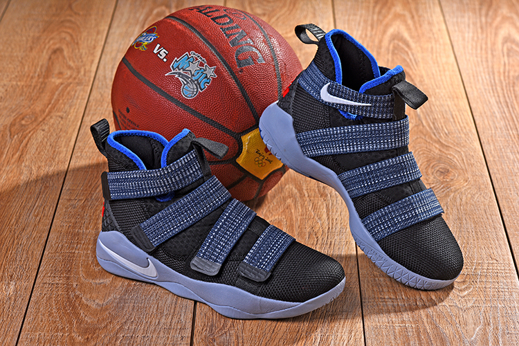 New Nike Lebron Soldier 11 Black Blue Grey Shoes