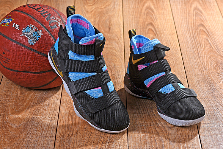 New Nike Lebron Soldier 11 Black Blue Pink Shoes