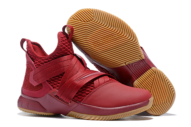 New Nike Lebron Soldier 12 Wine Red Yellow Shoes