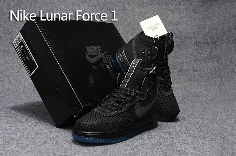 New Nike Lunar Force 1 High 3M Laser All Black Blue Sole 74b0769415