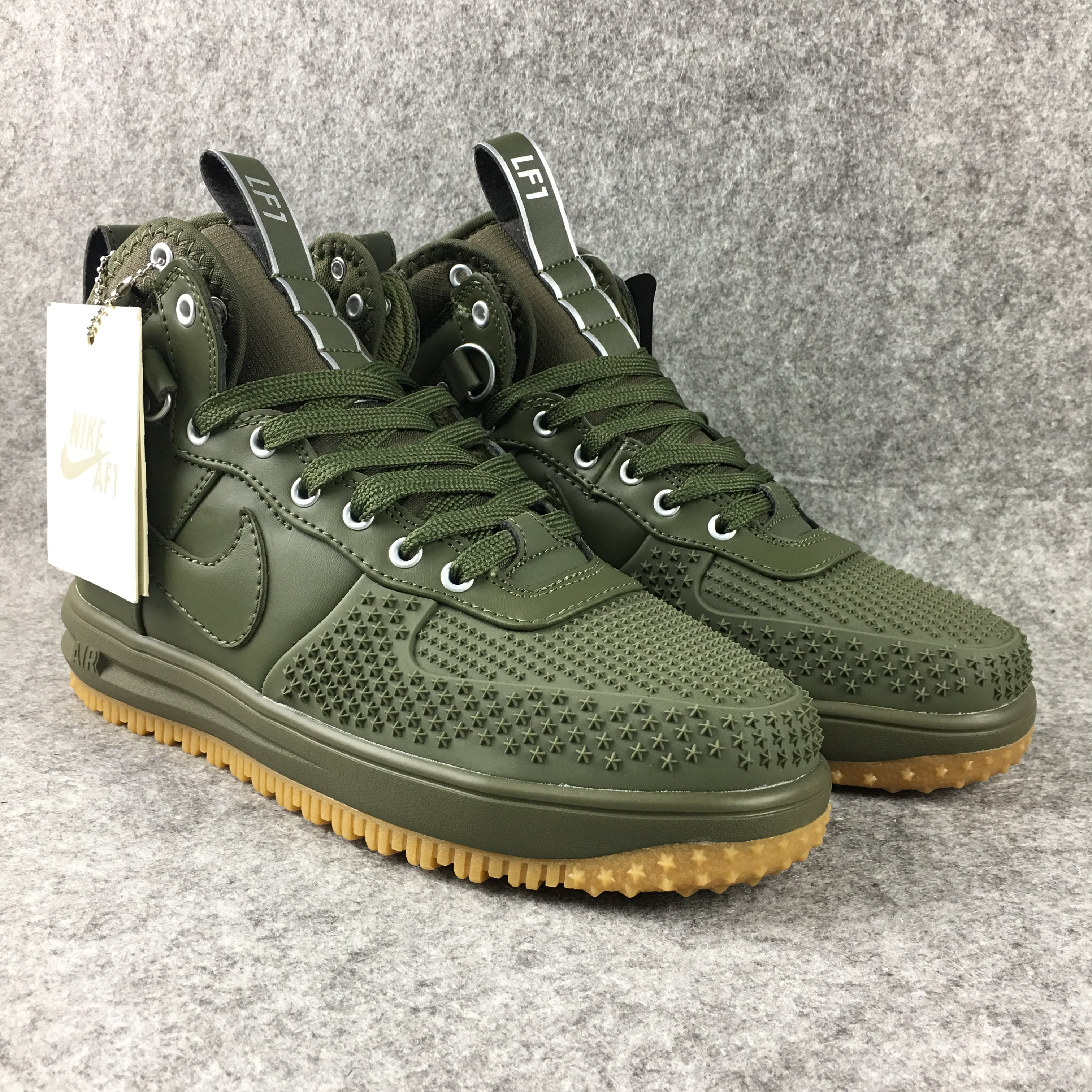 New Nike Lunar Force 1 High All Green Gum Sole