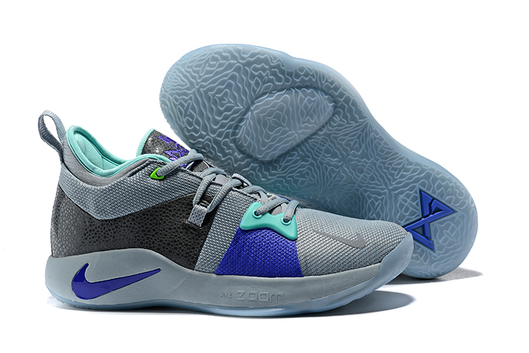 New Nike PG 2 Grey Jade Blue Black Shoes