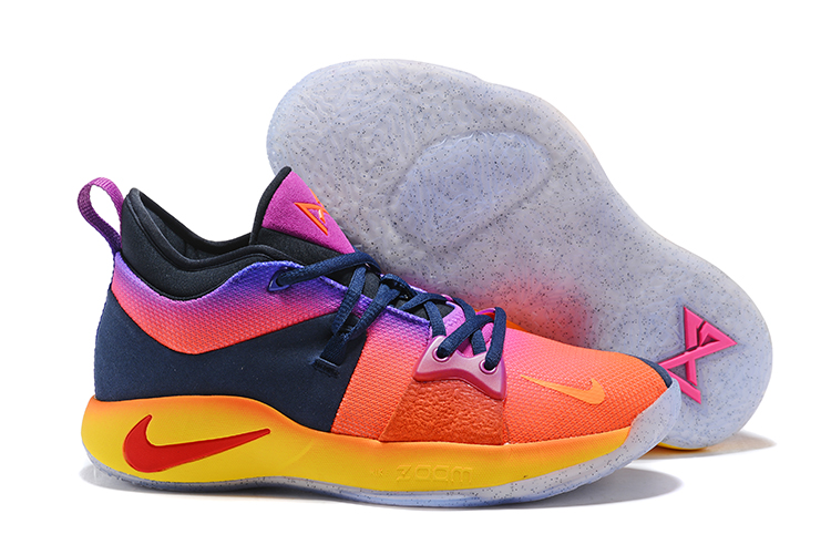 New Nike PG 2 Orange Purple Yellow Red Shoes