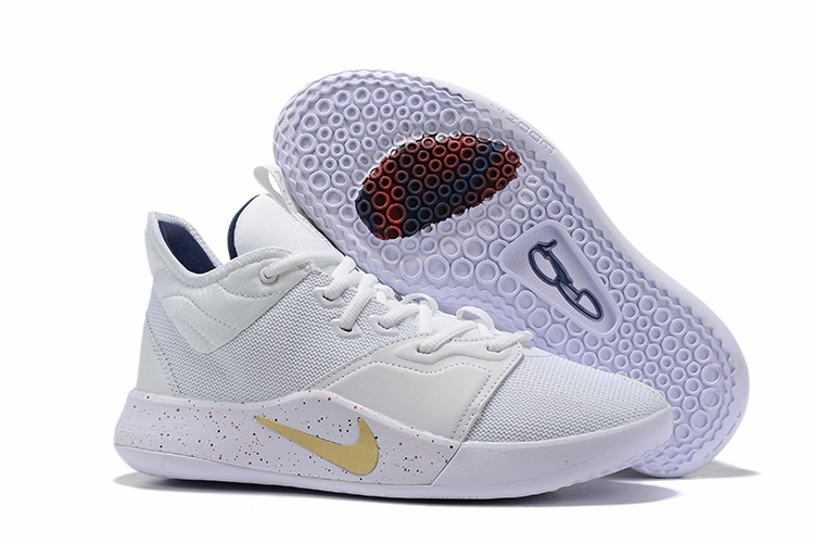 New Nike PG 3 All White Gold Logo Shoes