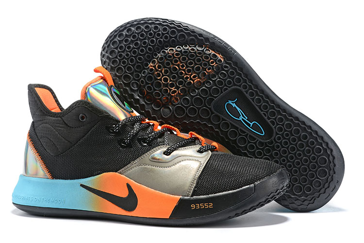 New Nike PG 3 Black Silver Orange Blue Shoes