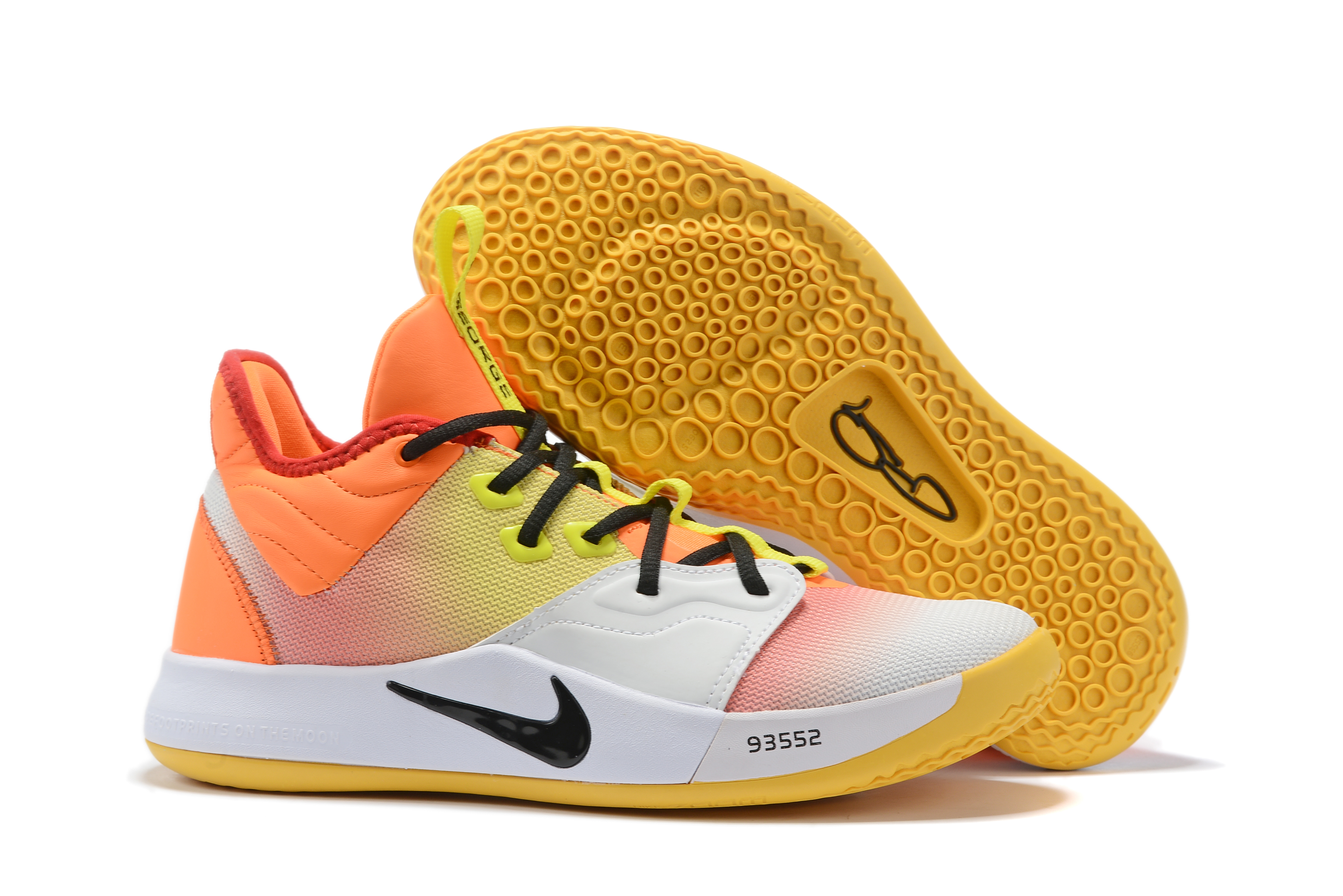 New Nike PG 3 Orange Yellow Black White Shoes