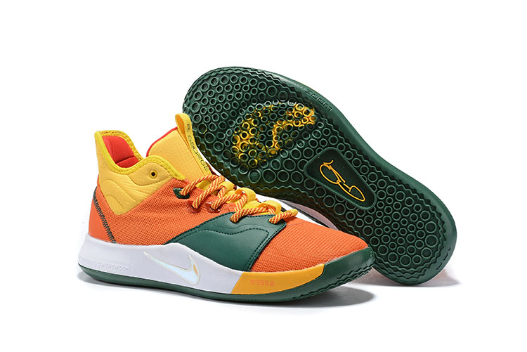 New Nike PG 3 Orange Yellow Green White Shoes