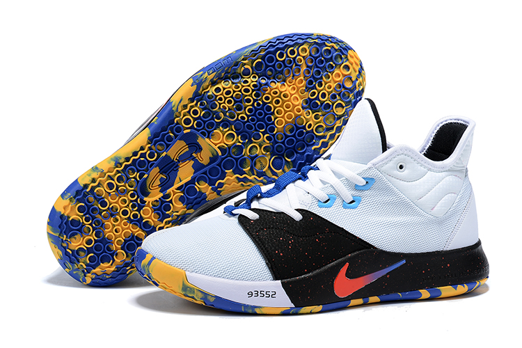 New Nike PG 3 White Black Yellow Blue Shoes