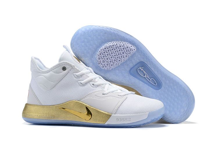 New Nike PG 3 White Gold Ice Sole Shoes