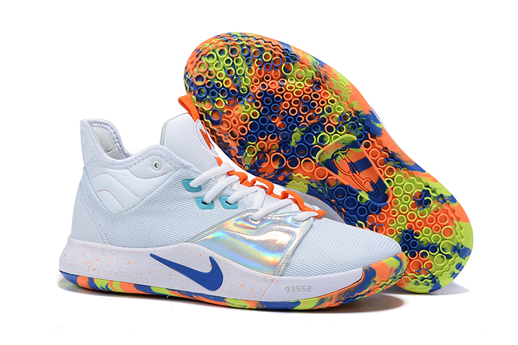 New Nike PG 3 White Orange Silver Blue Shoes