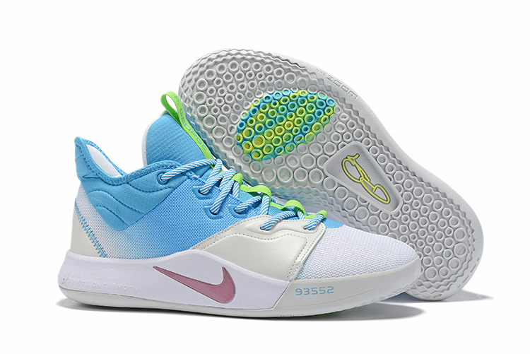 New Nike PG 3 White Silver Baby Blue Shoes