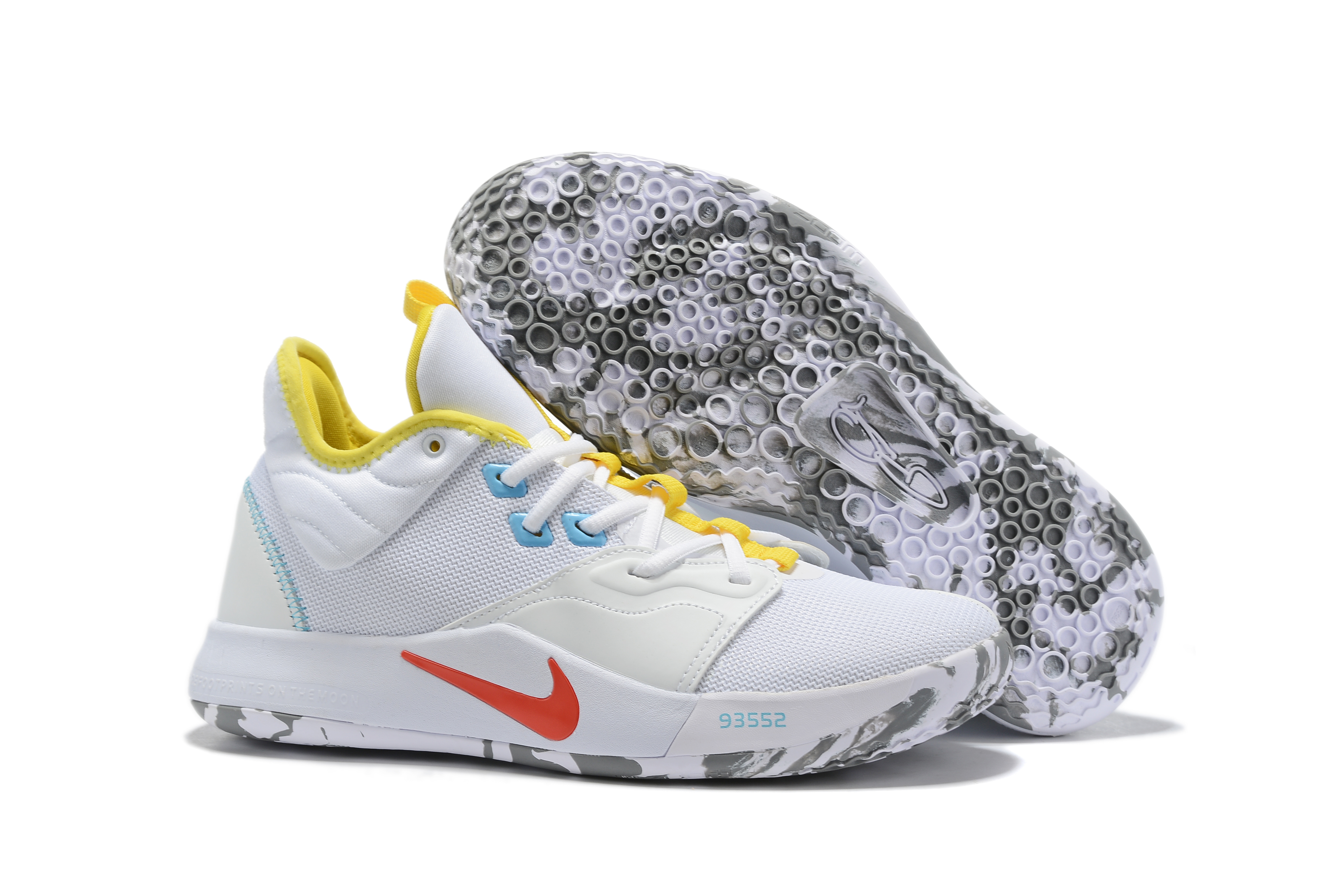 New Nike PG 3 White Yellow Red Shoes