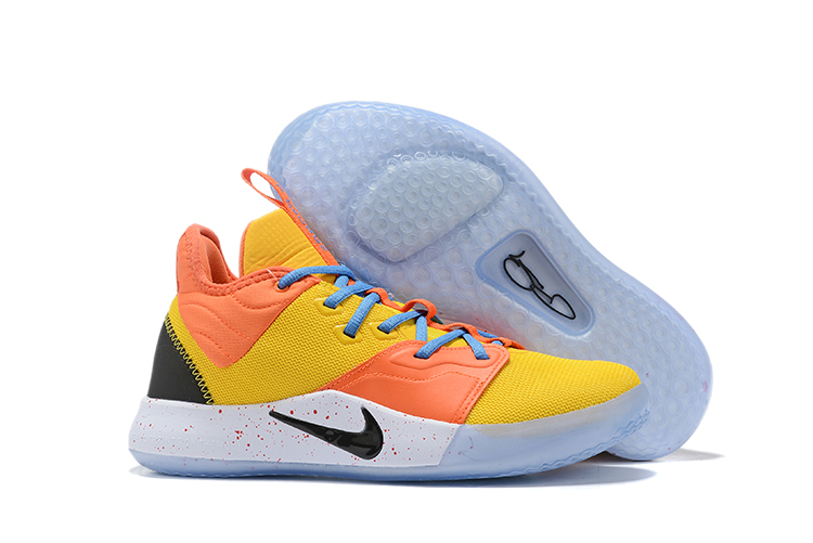 New Nike PG 3 Yellow Orange Black White Shoes