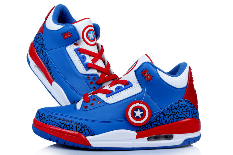 New Air Jordan 3 Retro Captain America Edition Blue White Red Shoes