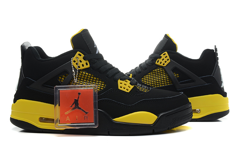 New Air Jordan 4 Retr Thor Black Yellow Shoes