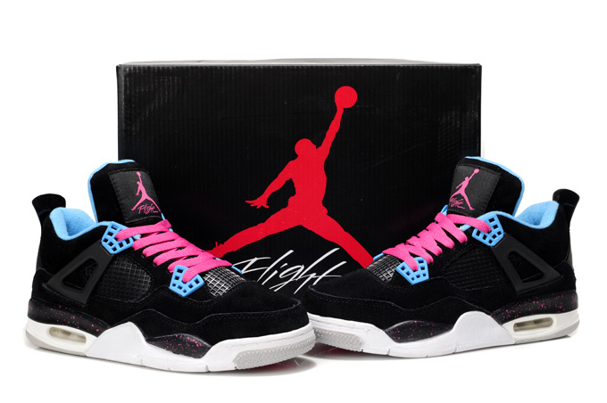 best loved 9609f 73f66 Nike Air Jordan 4 Retro Womens Basketball Shoes Black White Pink