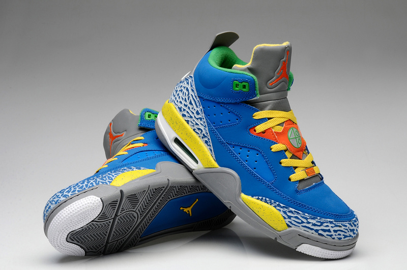 new arrival 8a597 90d3d Nike Air Jordan Spizike Blue Grey Yellow White Shoes