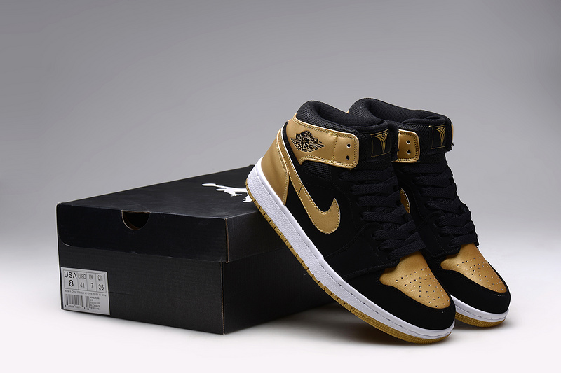 Nike 2015 Air Jordan 1 Retro Anthony Black Gold Shoes