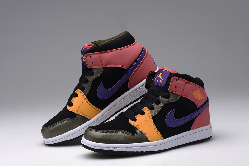 New Nike Air Jordan 1 Retro Black Orange Pink Blue Shoes For Women