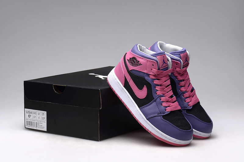 New Nike Air Jordan 1 Retro Pink Blue Black Shoes For Women