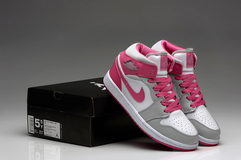 New Nike Air Jordan 1 Retro White Grey Pink Shoes For Women