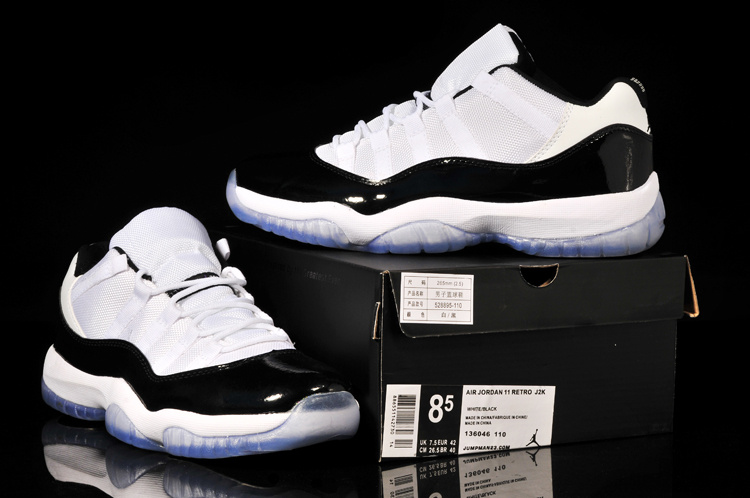 2014 Nike Air Jordan 11 Low Concord White Black Shoes