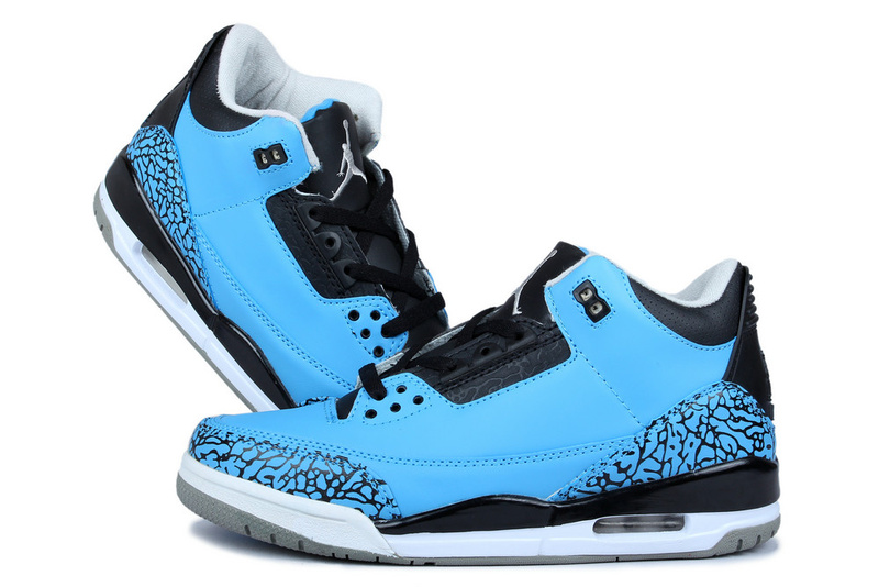 New Nike Jordan 3 Retr Blue Moon Black Shoes