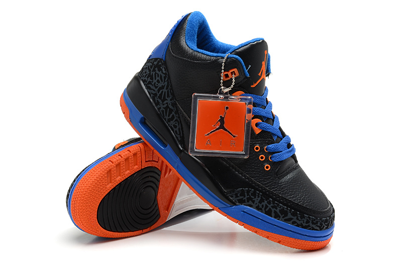 New Nike Jordan 3 Retro Black Blue Orange Shoes
