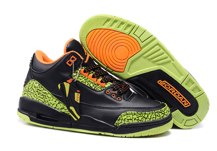 New Nike Jordan 3 Retro Black Green Cement Orange Shoes