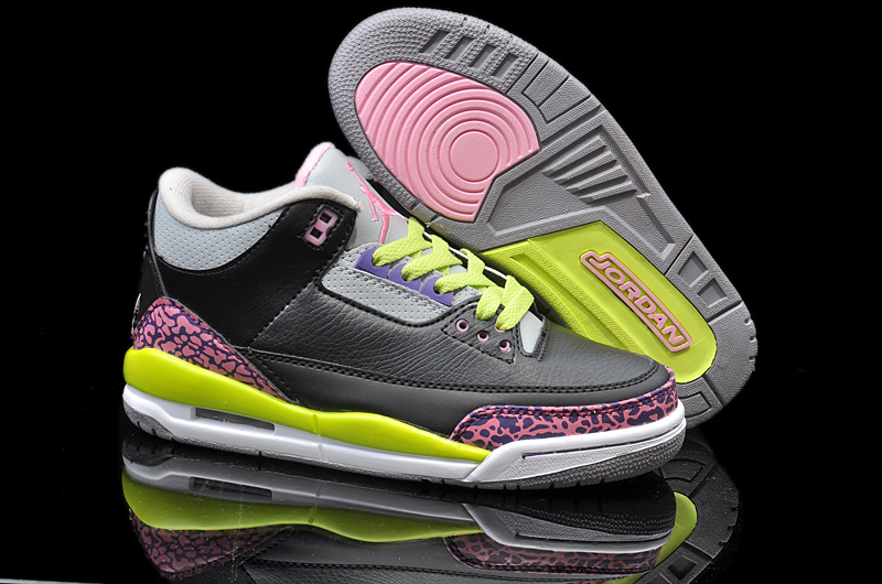 bcb3b668abcd New Nike Jordan 3 Retro Black Pink Yellow White Shoes  NKOBE1376 ...