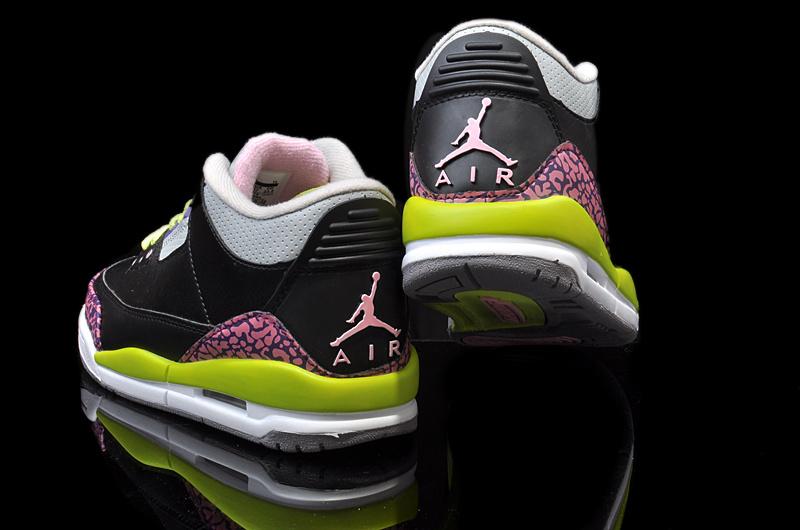 new concept 99125 00c6a ... new nike jordan 3 retro black pink yellow white shoes