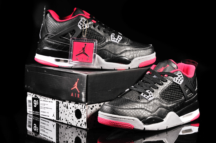 New Jordan 4 Retro Fish Pattern Black Grey Red Shoes