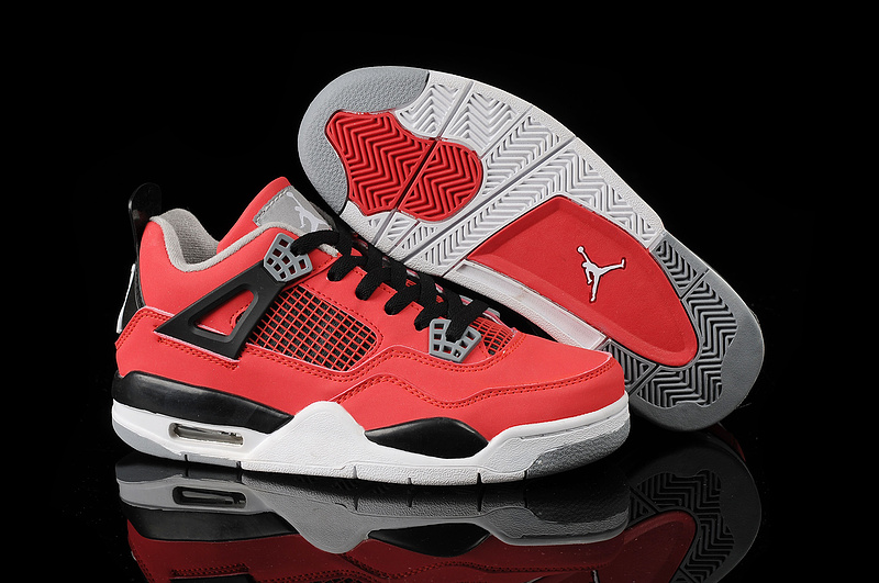 New Jordan 4 Retro Red Black White Basketball Shoes For Women