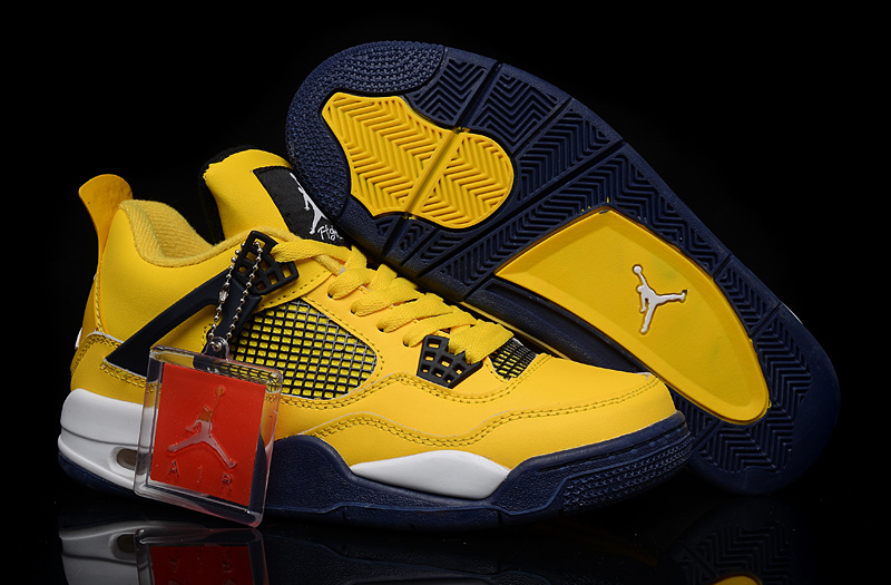 New Jordan 4 Retro Yellow Blue White Shoes