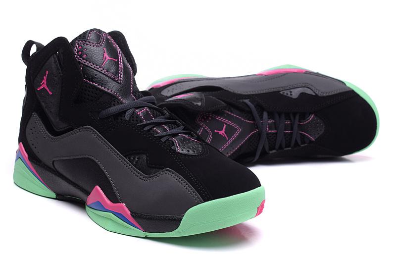 86e342512318 Latest Nike Air Jordan 7 Black Pink Green Shoes For Women