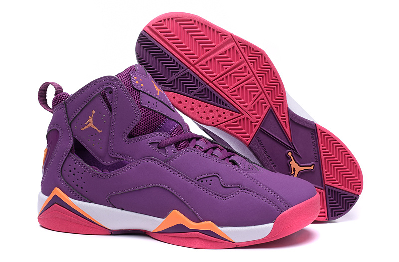 Latest Nike Air Jordan 7 Purple Red Orange Shoes For Women