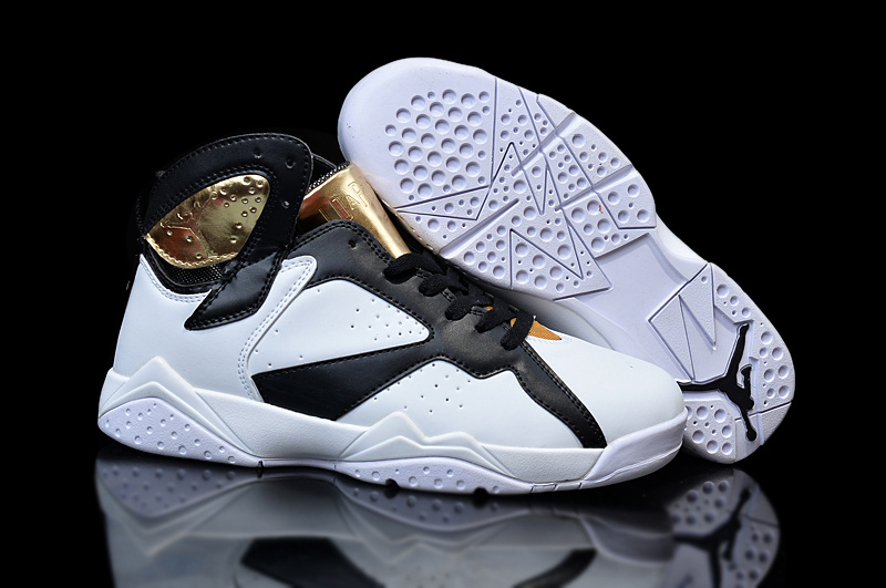 New Nike Air Jordan 7 White Black Gold Shoes For Women
