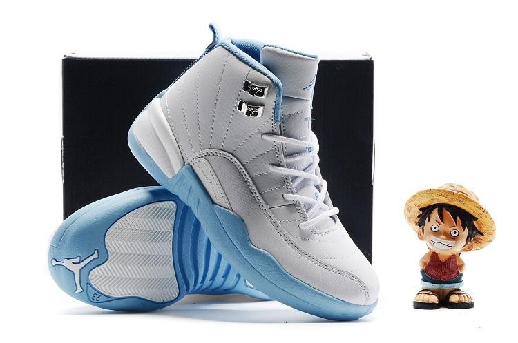 half off e1018 e7a85 New Kids Air Jordan 12 White Baby Blue Shoes [NKOBE2683 ...