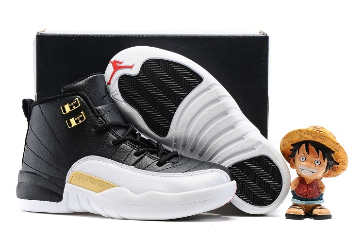 ... best price new kids air jordan 12 wings black white gold shoes f7fa6  37a42 bb54155cf