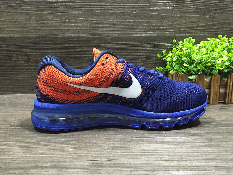 New Nike Air Max 2017 Flyknit Blue Orange White Shoes