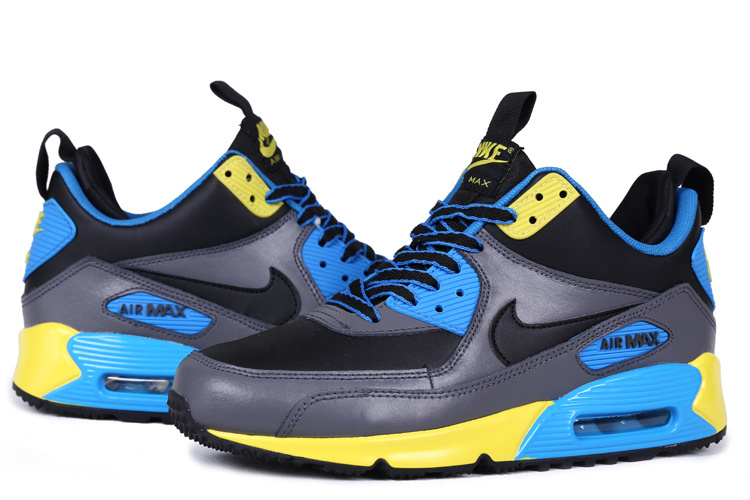 Nike Air Max 90 High Black Grey Blue Yellow