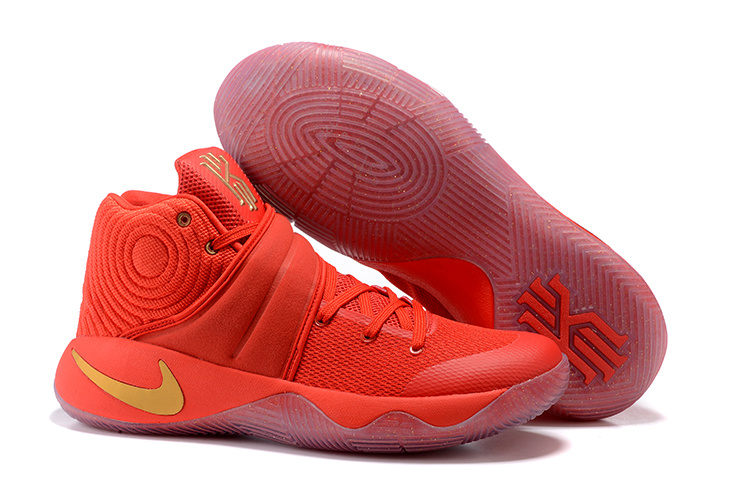 New Nike Kyrie 2 All Red Yellow Logo Shoes
