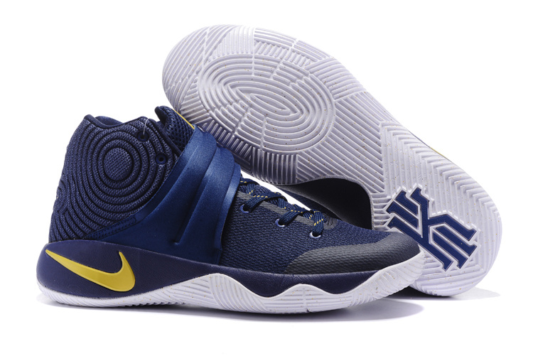 New Nike Kyrie 2 Deep Blue Yellow White Shoes