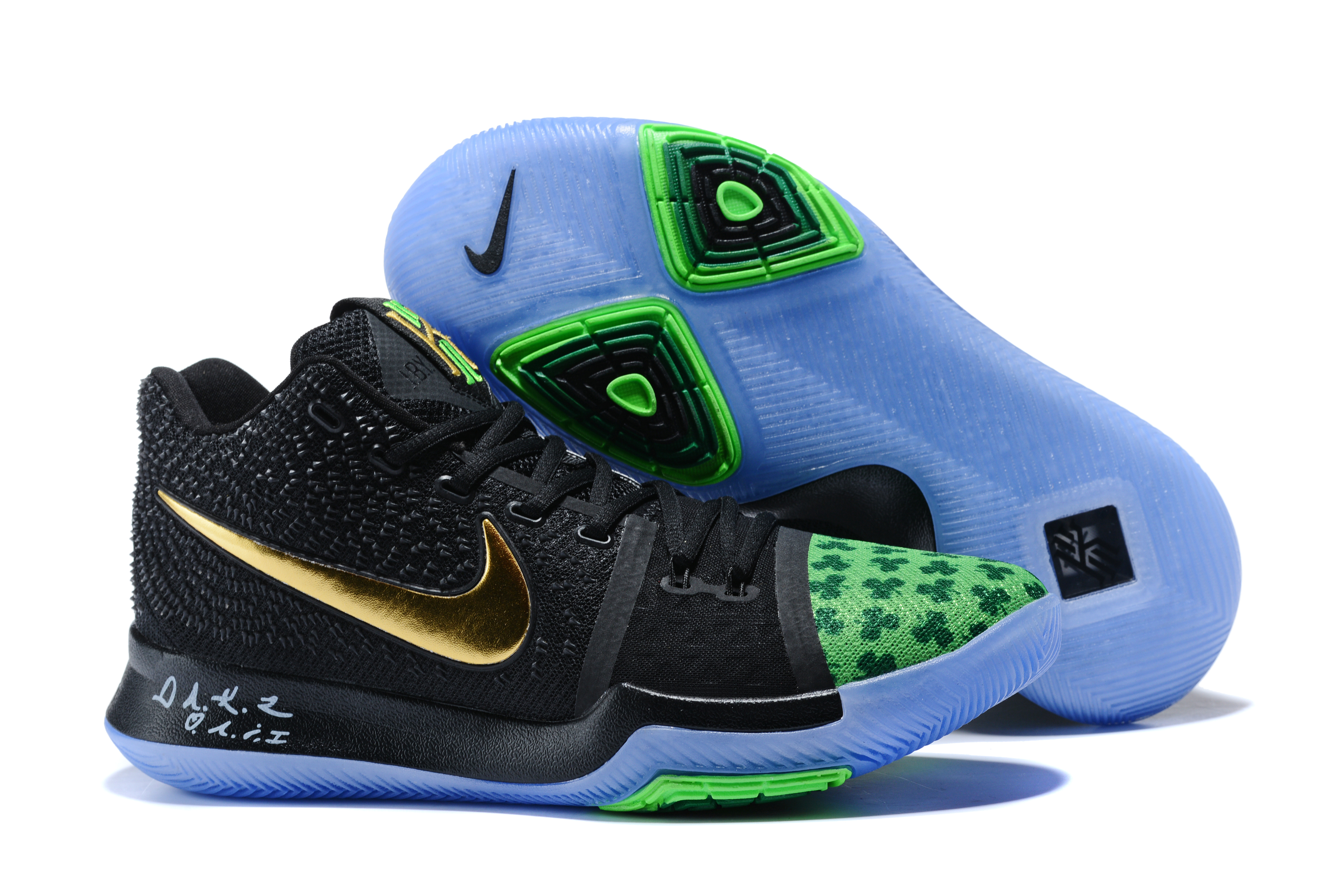 New Nike Kyrie 3 Black Green Gold Shoes