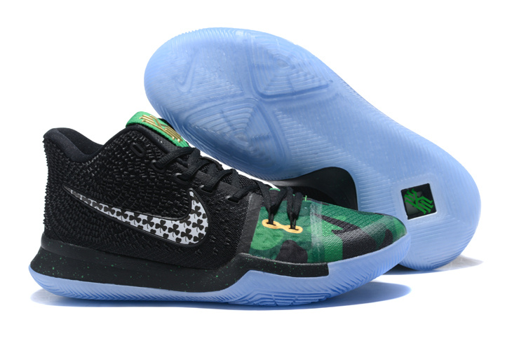 New Nike Kyrie 3 Black Green Ice Blue Sole Shoes